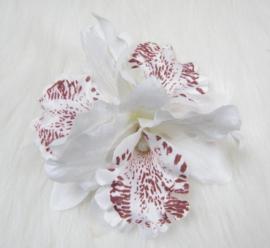 Haarclip driedubbele orchidee wit