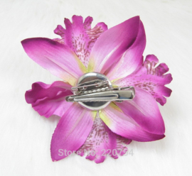Haarclip/broche driedubbele orchidee paars