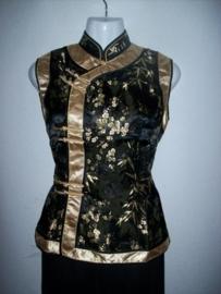 Bijzonder mooie Chinese asymmetrisch zwart/gouden top bamboe/pruimenbloesem motief