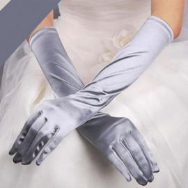 Lange gala handschoenen meiden/damesmaat grijs