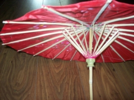 Rood bamboe handbeschilderd kinderparasolletje 55 cm