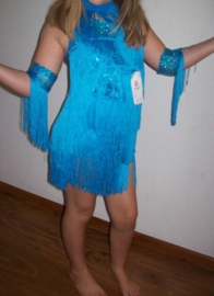 Bijzonder leuk Latin danssetje met franje/glitters en accessoires turquoise