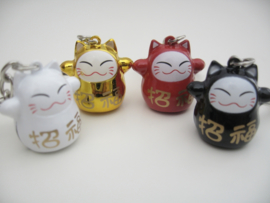 Superleuke Lucky Cat sleutelhanger 4 kleuren