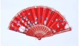 Mooie handwaaier van stof met bloemen rood