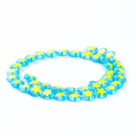 Glaskraal Millefiori turquoise/geel 10 mm