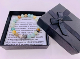 Prachtige armband van geslepen 8 mm Amazoniet kralen en Boeddha in geschenkdoosje