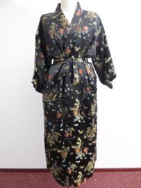 Schitterende lange zwarte brokaat unisex kimono met draken one-size