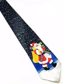 Kerststropdas Kerstman zwart