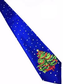 Kerststropdas Kerstboom blauw