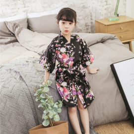 Superleuke kinderkimono met bloemenprint zwart