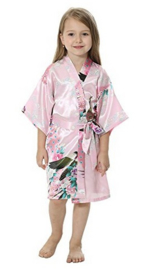 Superleuke kinderkimono met pauwenprint roze