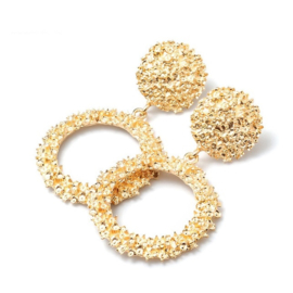 Gouden chunky ronde statement oorbellen 5,5 cm
