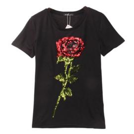 Mooi zwart shirt met grote roos van pailletten