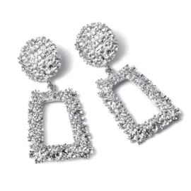 Zilveren chunky vierkante statement oorbellen 7 cm