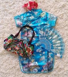Beeldschoon brokaat Chinees jurkje met gewoven bloemen turquoise