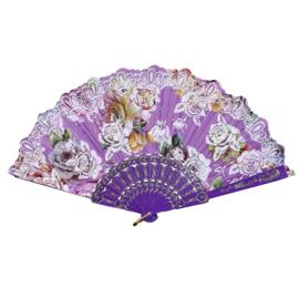 Prachtige handwaaier van stof met grote bloemen paars