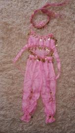Leuk kinder harempakje met rinkelende gouden muntjes roze 116-134