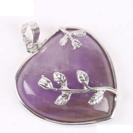 Prachtige elegante hanger hart van Amethyst met tulpjes