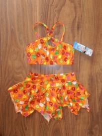 Glitterbikini met puntenrokje oranje