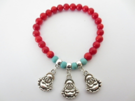 Kralen armband Koraal en Turkoois met 3 Boeddha bedels