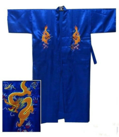 Prachtige lange blauwe kimono met kleurrijke draak op achterzijde