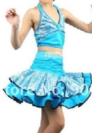Superleuk LATIN danssetje topje met rokje turquoise met zilver