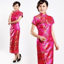 """Schitterende lange Chinese """"10 button"""" jurk fuchsia"""