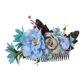 Grote romantische haarkam met blauwe bloemen