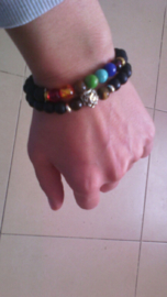 Kralen armband Lavasteen met 7 Chakra kralen
