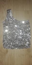Zilveren one-shoulder bling bling topje maat 128/134/140