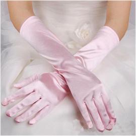 Lange gala handschoenen meiden/damesmaat roze