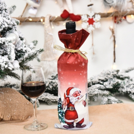 Kadoverpakking wijnfles Kerstman
