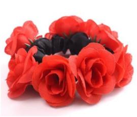 Scrunchie met roosjes rood