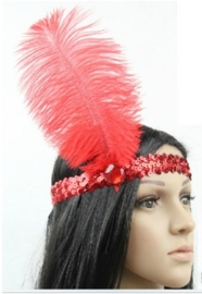 Elastieken pailletten haarband met veer rood