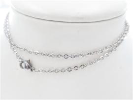 Zilverkleurige edelstaal ketting 55 cm voor hangers/bedels/pendels