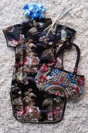 Beeldschoon brokaat Chinees jurkje met gewoven bloemen zwart