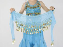 Superleuke turquoise kinderheupsjaal met gouden muntjes
