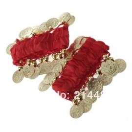 Setje polsbandjes rood met gouden muntjes