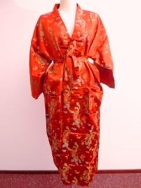 Schitterende lange rode brokaat unisex kimono met draken one-size