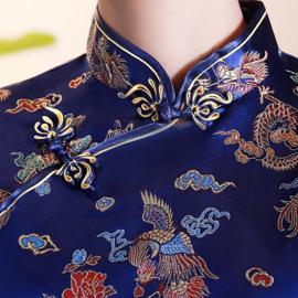 Mooi kobaltblauw getailleerd chinees blousje draken motief