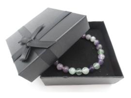 Prachtige armband van geslepen 8 mm Fluoriet kralen en Boeddha in geschenkdoosje