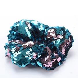 Turquoise lila pailletten scrunchie!