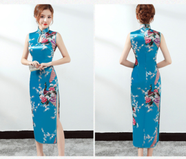 Prachtige lange mouwloze Chinese pauwenjurk turquoise