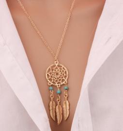 Leuke BOHO dromenvangerketting met veertjes en turkoois kralen goud
