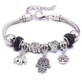 Mooi Pandorastyle armbandje met levensboom, handje, olifantje en zwarte strasskralen