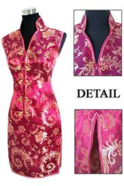 Elegant brokaat mouwloos Chinees jurkje donkerfuchsia met goud