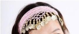 Haarband lichtroze met gouden muntjes