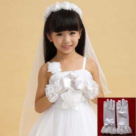 Korte gala handschoentjes met strik en kant voor meisje 4-8 jaar wit