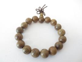 Mala gebedsarmband sandalwood naturel kralen 1,2 cm