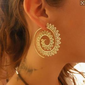 Tribal oorsteker blaadjes goud